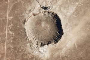 [Meteor Crater. Image credit: USGS National Map Seamless Server. From http://earthobservatory.nasa.gov/IOTD/view.php?id=39769]