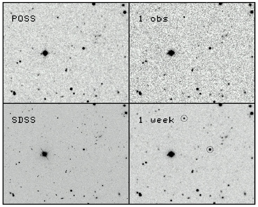 [Left: A 0.1 × 0.08 deg portion of the sky obtained by the (top) more than 50 year old Palomar Observatory Sky Survey in the <em>R</em> band and (bottom) the same view in the recent Sloan Digital Sky Survey in the <em>r</em> band.  Right: (top) a simulation of the how the same field will appear in a single ATLAS red observation (two 30 sec integrations) and (bottom) after combining 5 clear nights of ATLAS images. Image credit: John Tonry, University of Hawaii Institute for Astronomy.]