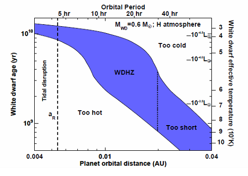 [The habitable zone near a white dwarf star is shown shaded in blue as a function of the white dwarf's age and distance from the star.  White dwarfs cool slowly with time so the habitable zone gets closer to the star as it ages.  A planet that lies in the region on the lower left will be too hot for life as we know it while one in the upper right is too cold.  Like Goldilocks, the region in blue is just right.  For example, a planet at 0.01 AU from the star will be habitable from about 2 billion years to more than 10 billion years - a total habitable period of more than 8 billion years.  That's far longer than the Earth is expected to be habitable! Image credit: Eric Agol, University of Washington. From http://www.centauri-dreams.org/?p=17182]
